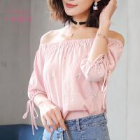一字领雪纺衫女绣花短袖2017夏季新款甜美女装韩版宽松灯笼袖上衣