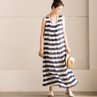Q5161A 文艺条纹圆领无袖背心连衣裙 度假雪纺大摆长 米可可