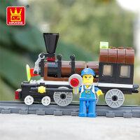 万格乐博士积木火车智力启蒙玩具拼插组装男女孩3-6-8周岁以上