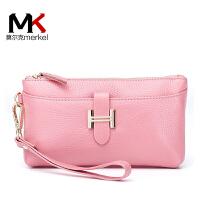 莫尔克(MERKEL)时尚新款真皮女士手拿包钱包手机包头层牛皮女零钱包手腕包皮夹