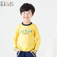 初语童装 冬装新款 男童打底衫 卡通儿童T恤上衣衫T5301110331