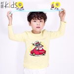 初语童装 年冬季新款 男童 时尚儿童纯色圆领长袖T恤 T5301110111
