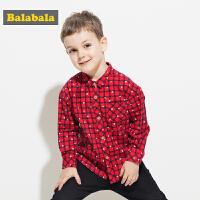 巴拉巴拉童装男童长袖衬衫小童宝宝秋装2017新款格子儿童衬衣潮