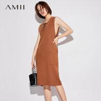 Amii[极简主义]2017秋装新款大码时尚无袖绑带口袋连衣裙11772927