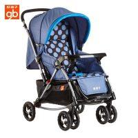 好孩子(Goodbaby)婴儿推车童车双向可躺可坐宝宝摇篮车避震两用手推车A518蓝色点A518-M425BB