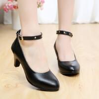 单鞋女鞋高跟鞋春秋头层牛皮高跟舒适黑白色码真皮工作鞋女单鞋浅口走秀