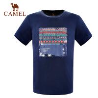 camel骆驼户外T恤 春夏男女简约休闲运动圆领短袖T恤