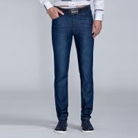 才子男装(TRIES)牛仔裤 男士2017年新款黑蓝色简约时尚修身版直筒休闲牛仔裤