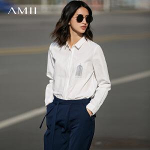 Amii[极简主义]2017春女新长袖印花口袋大码多色通勤衬衫11740487