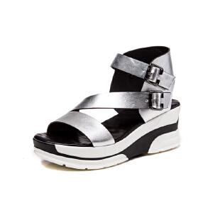 莎诗特2017夏季新款罗马松糕凉鞋厚底防水台坡跟鞋休闲露趾中跟鞋86075