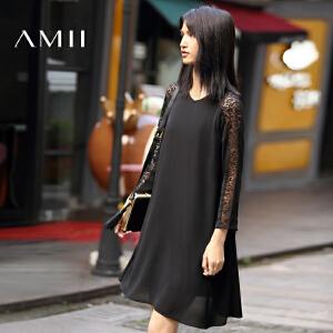 【AMII超级大牌日】[极简主义]2017年春新款蕾丝拼接雪纺大码长袖连衣中裙11672685