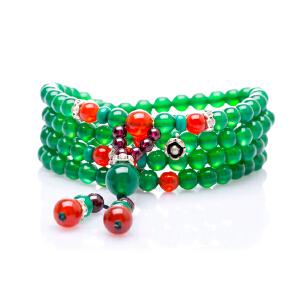 芭法娜 绿意 天然绿玉髓时尚多圈百搭手链 配石榴石 红玛瑙