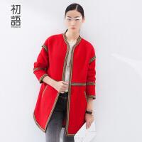 初语冬季新款 民族织带拼接宽松H廓形羊毛呢大衣女8541224010