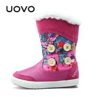 【满200减100】UOVO2017新款冬季新款儿童雪地靴中大女童保暖棉靴子中筒靴 纳维亚