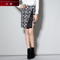 小虫 冬季新品欧美时尚格纹优雅百搭开叉包臀裙半身裙