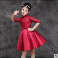 立体镂空蕾丝中袖花童生日婚纱蓬蓬裙女童公主裙贴身舒适儿童礼服长袖酒红色连衣裙