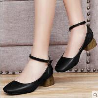 盾狐春季新款韩版百搭方头黑色小皮鞋粗跟浅口一字扣高跟鞋单鞋女1706