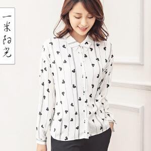 一米阳光2017春款韩版印花长袖衬衫修身百搭衬衣