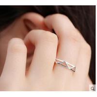 日韩国时尚个性潮人简约学生创意欧美食指饰品夏几何戒指女指环s925银