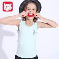 小猪班纳儿童背心男童吊带韩版2017夏季中大童童装运动背心男无袖T恤