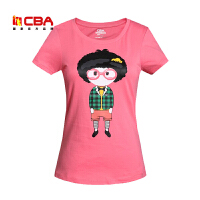 【618狂嗨继续】CBA女子休闲T恤夏季纯棉修身卡通印花圆领短袖T恤衫