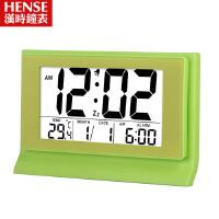 汉时钟表 创意超大LCD数显电子闹钟静音夜光懒人聪明电子钟HA28  此款闹钟闹铃声约为60-70分贝,测试仪器、测试环境均会 导致分贝值有偏差,以上数据仅供参考