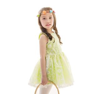 [满200减100]芙瑞诺童装女童夏装无袖蕾丝蓬蓬连衣裙三色可选