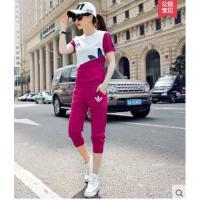 新款潮韩版休闲运动套装女夏天两件套宽松时尚七分裤套装  可礼品卡支付