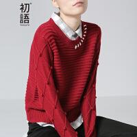 初语秋季新款 格子翻领立体纹理拼接毛衣针织衫女8630423029
