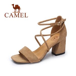 Camel/骆驼女鞋2017夏季新款时尚气质露趾高跟凉鞋交叉绑带粗跟绒面凉鞋