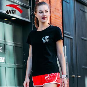 安踏女装运动短袖2017夏季新款针织百搭印花休闲运动T恤16727167