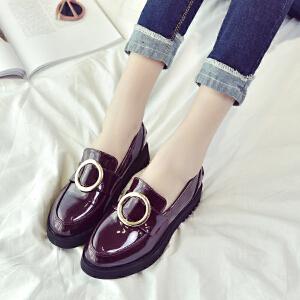 妃枫霏新款英伦风女士单鞋浅口平跟套脚乐福鞋增高休闲小皮鞋