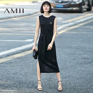 Amii[极简主义]2017春系腰带侧开叉针织无袖背心长连衣裙11780644