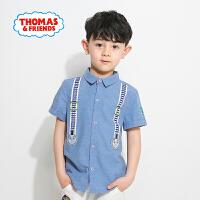 [满200减100]托马斯童装夏季新款男童纯棉短袖衬衫时尚卡通印花潮款上衣