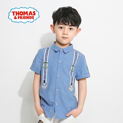 托马斯童装夏季新款男童纯棉短袖衬衫时尚卡通印花潮款上衣