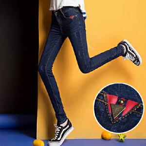 2017年春夏秋款女式牛仔小脚铅笔裤时尚百搭新款潮流WM1705