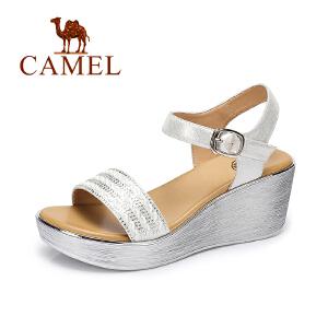 camel骆驼女鞋 2017夏季新款 时尚水钻坡跟凉鞋 防水台高跟凉鞋