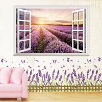 3D立体墙贴卧室墙面装饰田园墙纸壁纸自粘温馨墙画背景海报假窗户