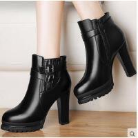 百年纪念高跟裸靴粗跟短靴秋冬季新款英伦风马丁靴圆头女靴子冬天女鞋