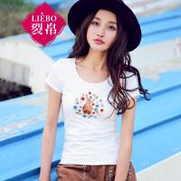 裂帛2017夏新品文艺卡通刺绣圆领上衣直筒针织短袖T恤女51162119