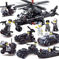 兼容乐高男孩积木特警益智拼装儿童玩具飞机警察模型6-8-10-12岁