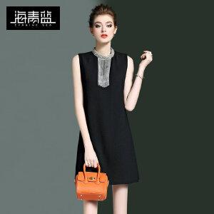 海青蓝2017春装新款纯色气质通勤立领无袖修身显瘦欧美连衣裙0188