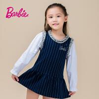 Barbie芭比女童装春季新款连衣裙时尚撞色拼接圆领公主裙