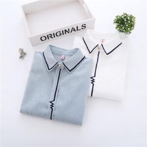 装新款心电图刺绣衬衫女韩版学院风灯芯绒上衣