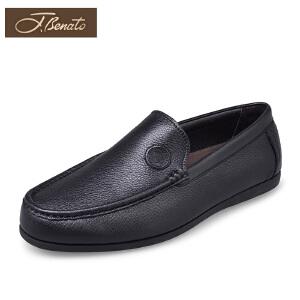 宾度男鞋中年男士皮鞋春季套脚休闲鞋乐福鞋真皮平底圆头爸爸鞋子