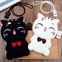 【支持礼品卡】iphone7手机壳硅胶苹果6S\/6PLUS防摔挂绳5S卡通可爱猫咪保护套女