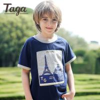 TAGA童装 男童短袖T恤中大童夏装T恤衫2017夏季新款儿童6-7岁上衣