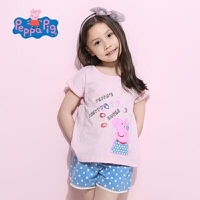 小猪佩奇正版童装夏装清甜女童套装全棉纯棉短袖T恤短裤2件套2017夏季新款粉红猪小妹