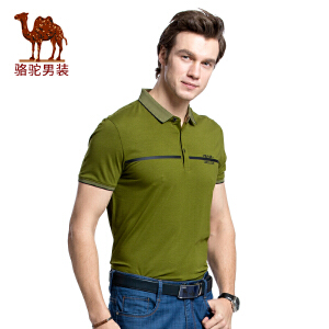 骆驼男装 2017新款夏季男士商务休闲印花翻领男青年短袖T恤衫
