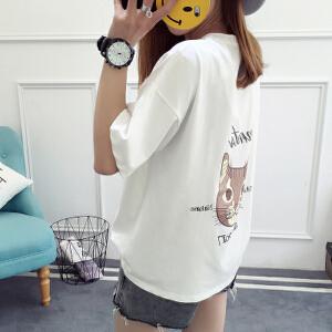 【当当年中庆】2017新款夏装卡通图案T恤女短袖宽松韩版打底衫上衣